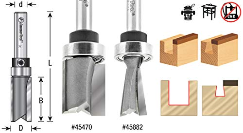 Amana Tool 45470 Carbide Tipped Straight Plunge 5/8 D x 3/4 CH x 1/4 Inch SHK w/Upper Ball Bearing Router Bit