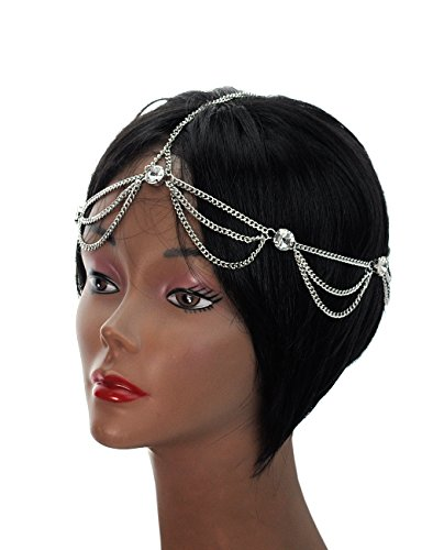 (Women's Bohemian Fashion Head Chain Jewelry - Rhinestone Charm 2 Draping Strand,)