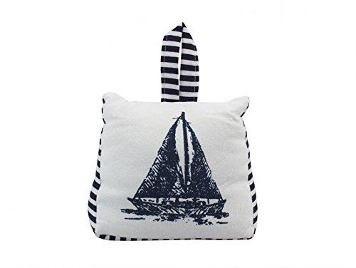 (Blue and White Canvas Sandbag Sailboat Door Stop 6 - Decorative Door Stop - Bea)