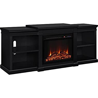 Altra Furniture Manchester TV Stand with Fireplace, 70 , Black