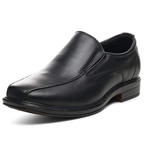 alpine swiss S197 Men's Dress Shoes Leather Lined Slip on Loafers, Black, 11