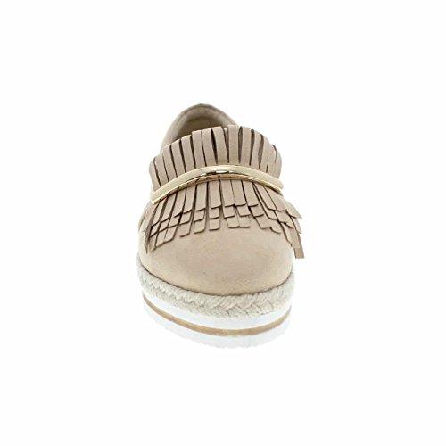 Moca Platform Slip-on Womens Casual Stile Frangia Lingua / W Metallico Come Bar E Intrecciato Corda Design Chic-08 Beige