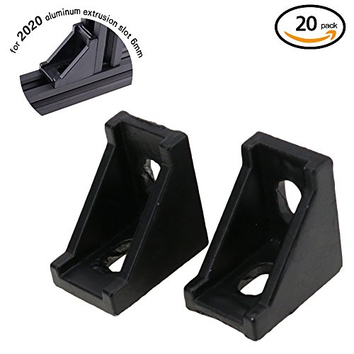 Boeray 20pcs 2028 Black Aluminum Corner Bracket for 2020 Aluminum Extrusion Profile Slot 6mm