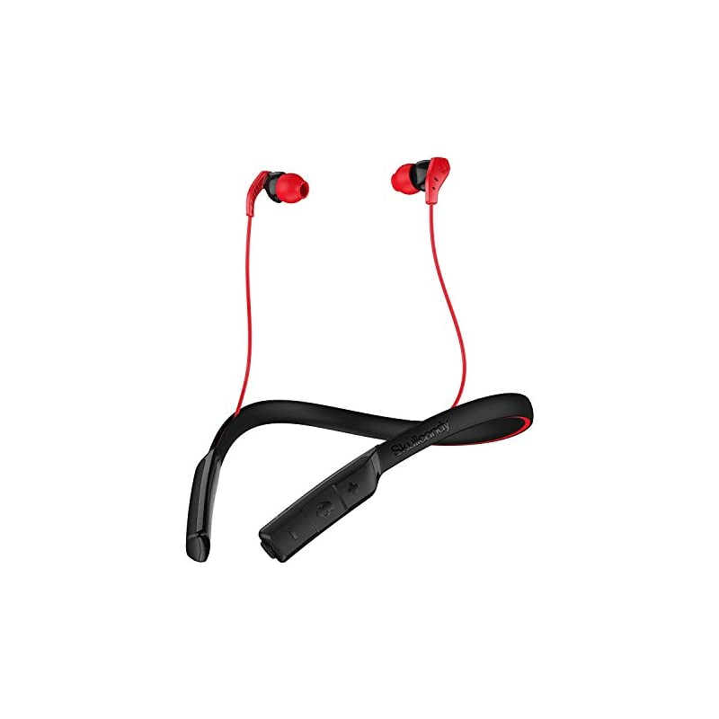 Skullcandy Method Bluetooth Wireless Sweat-Resistant Sport Earbuds with Microphone, Secure Around-The-Neck Collar, 9-Hour Rechargeable Battery, Perfect for Working Out, Black/Red