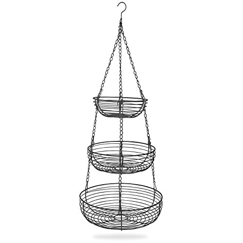 Home Intuition 3-Tier Hanging Basket Heavy Duty Wire, Round (Black) by Home Intuition (Image #2)