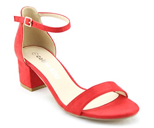 CALICO KIKI ELISHA-CK01 Women's Buckle Ankle Strap Low Block Heel Open Toe Heeled Sandals (8 US, RED)