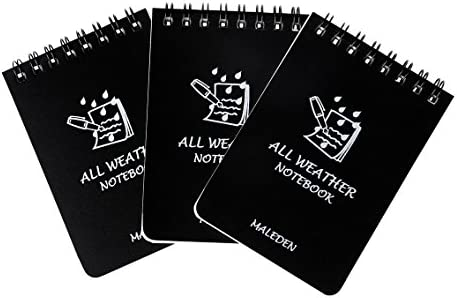 Lenhar Pack of 5 Black All Weather Spiral Waterproof Notes//Field Notes//Pocket