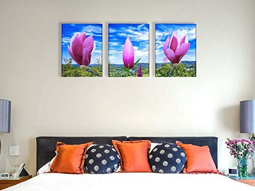 Wall Art Canvas Painting Purple Magnolia Flowers on The Branch Print Picture Modern Home Decor Painting for Living Room(12x16inch x3pcs)
