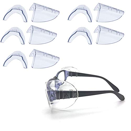 VintageBee 5 Pairs Safety Eye Glasses Side Shields Slip On Clear Side Shield Fits Small to Medium