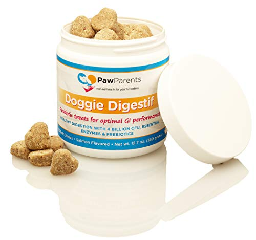 (PawParents Dog Probiotics Chewable | Natural Digestive Enzymes Dogs to Support Gut Immunity Health | Address Diarrhea, Relieve Gas, Provide Allergy Relief, Bad Breath Aid | 90 Chewable)