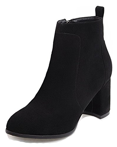 Aisun Womens Inside Zip Up Round Toe Dressy Simple Booties Mid Block Heel Ankle Boots With Zipper Black