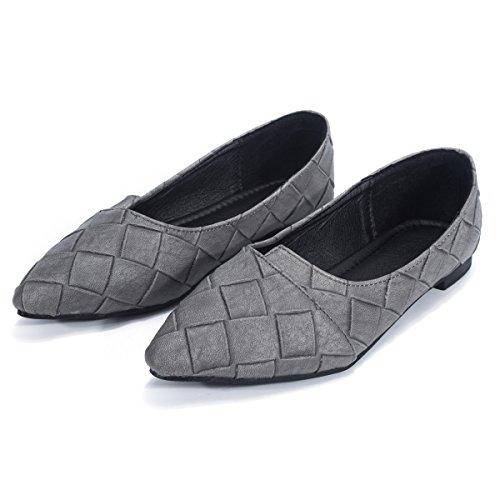 Nye Kvinners Skinn Foret Spisse Tå Ballett Flat Sko Loafers Komfort Formell Grå