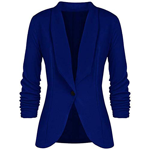 Women's One Button Blazer Jacket Casual Work Office Suit Jacket Blue