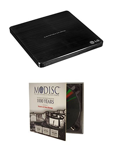 LG 8x SP60NB50 Ultra Slim Portable DVD Writer Bundle with 1 Pack M-Disc DVD - M-DISC Supported, Mac OS X Compatible (Black, Retail Box)