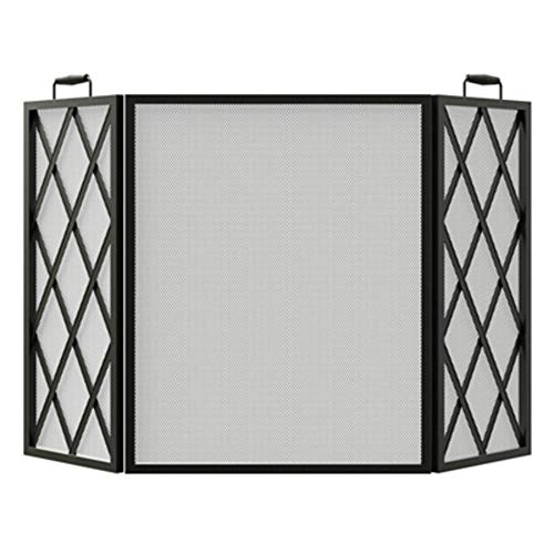 Open Hearth 15185 Fireplace Screen, Diamond-Style, Black, 3-Panel - Quantity 1