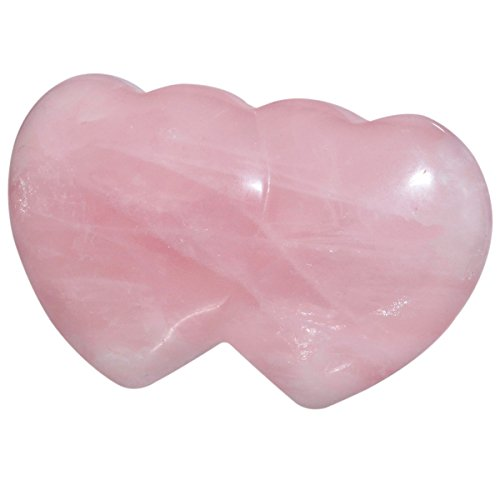 mookaitedecor Healing Crystals Rose Quartz Double Heart Love Worry Palm Stone Reiki Balancing 2.7 inches