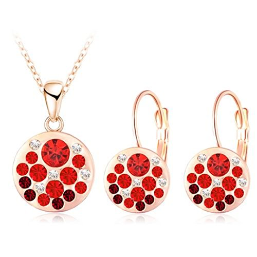 Hot Austrian Crystal Jewelry Set For Women Rose Gold Color Round Style Pendant/Earrings Sets Parure Bijoux Femme