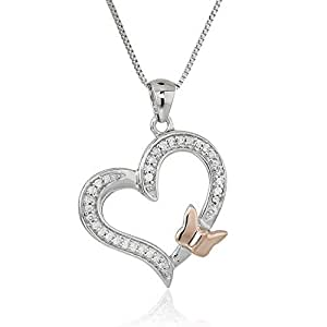 1/10 cttw Diamond Butterfly and Heart Pendant In 14K White and Rose Gold with 18 Inch Chain