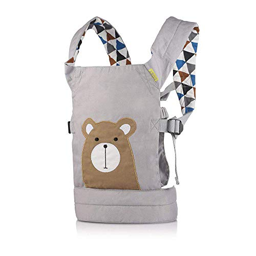 Cuby Dolls Carrier Front and Back Soft Cotton Suitable for Baby Over 18 Months, Brown Bear - Grey