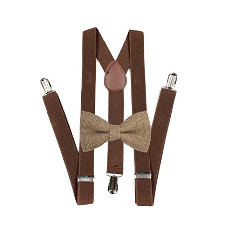 Hemp Bow ties and brown suspenders Set Combo Mens (Brown)