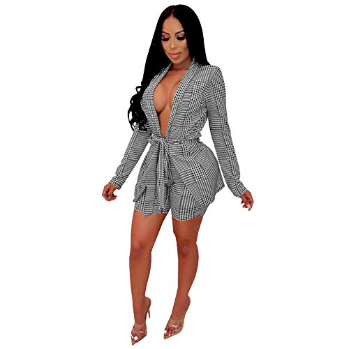 Womens Two Piece Outfits Sexy Long Sleeve Plaid Blazer Jacket and Shorts Set with Belt