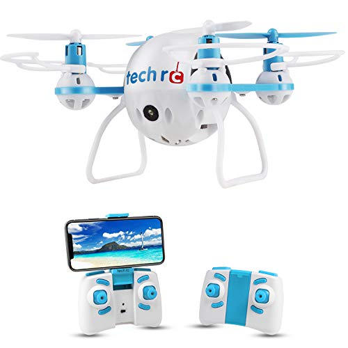 Tech RC Mini Drone with HD Camera WiFi Live Video, Quadcopter with Headless Mode Altitude Hold & 3D Flips, Easy to Fly for Kids & Beginners-Blue