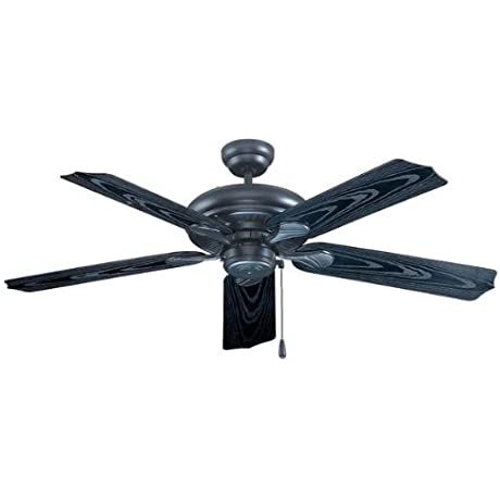Royal Pacific 1017W BK ES Torrent 5 Blade 52 Inch Ceiling Fan Black With Black Wood Grain ABS Blades For Outdoor Wet Location Energy Star Rated