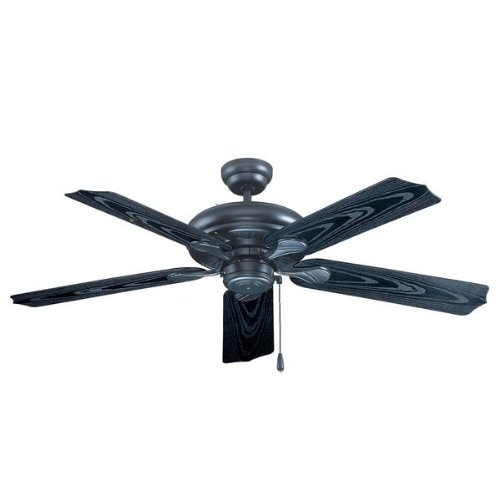 Royal Pacific 1017W-BK-ES Torrent 5-Blade 52-Inch Ceiling Fan, Black with Black Wood Grain ABS Blades For Outdoor Wet Location, Energy Star Rated