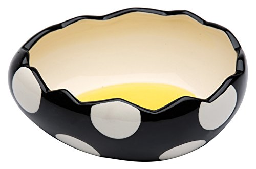 (StealStreet SS-CG-62677, 6.5 Inch Black and White Polka Dot Cracked Egg Shell Shaped Small Bowl)
