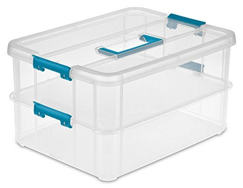 Sterilite 1427CLR Stack & Carry - 2 Layer Box, Clear Lid & Blue Handle, See-through layers