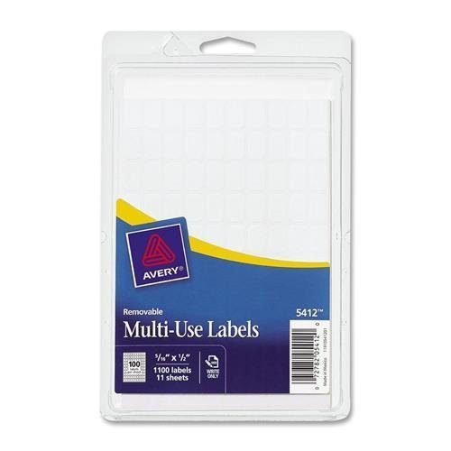 """S508 Avery Handwritten Removable ID Label - 0.31"""" Width x 0.50"""" Length - 1000 / Pack - Rectangle - Paper - White"""