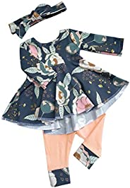 bilison Toddler Baby Girl Clothes Solid Color Ruffle Tops Floral Pants with Headband Outfit Set