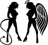 devil and angel girl sticker - Angel Devil Girl Naughty Nice Symbol Car Truck Windows Decor Decal Sticker - Die cut vinyl decal for windows, cars, trucks, tool boxes, laptops, MacBook - virtually any hard, smooth surface