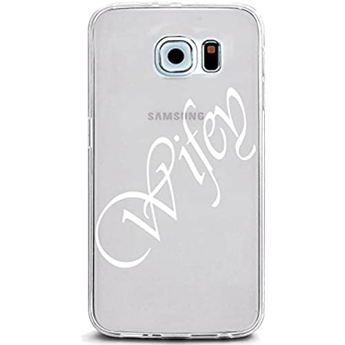 UV Printed TPU Case for Galaxy S7 - Wifey Script Letters (White Ink on Clear Case) Sales