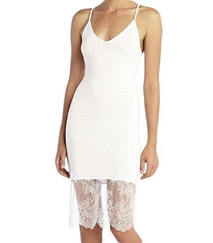 Tianve Womens Sexy Lace Trimmed Long Slip Tank Dress Patchwork Extender Camisole Dress (White, M)