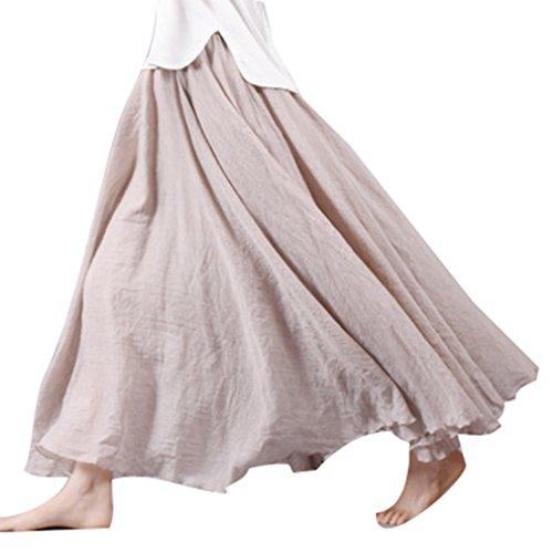 junkai Maxi Jupes pour Femmes - 20 Couleurs Coton Lin Double Couche Jupe Longues Jupes Dames Taille Haute Jupe Doux Confortable Beige