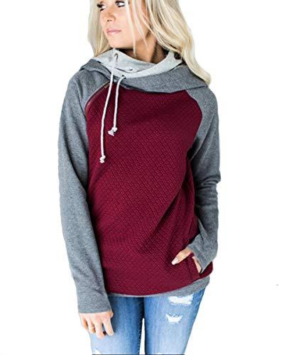CCZZ Women Oblique Zipper Hoodies Winter Long Sleeve Hooded Sweatshirt Top Jacket Coat