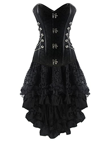 Burvogue Steampunk Dress,Women Corset Top and Multi Layered Chiffon Skirt Set (Medium, Picture 1) (Corset Dress)