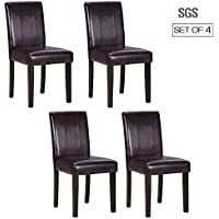 ZXBSWELE Set of 4 Parson Chair with Solid Wood Leg for...