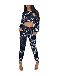 lisenraIn Women Two Piece Outfits Tie Dye Long Sleeve Crop Top Sweatshirt Long Pants Tracksuit Set