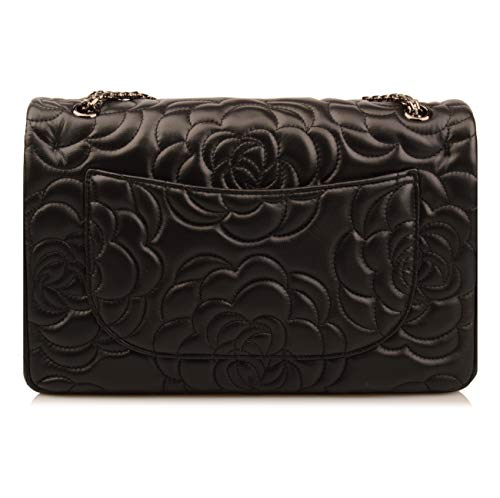 Quilted Flower Hobo Oversize Leather Hardware Purse Gunmetal Handbag Shoulder Ainifeel Women's Black Bag Genuine f65AAq