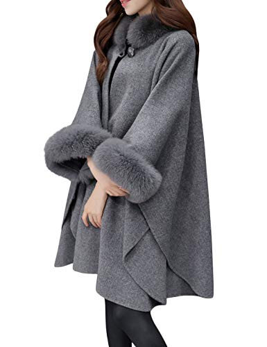Tanming Womens Winter Fashion Fur Collar Wool Blend Shawl Wrap Poncho Cape Coat (Gray, Large)