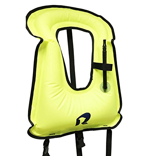 Child Portable Inflatable Snorkeling Life Jacket Snorkel Vest For Diving Water Safety (Green, Child-Youth/5-15years old/Height:100cm-140cm) (Child Snorkel Vest)