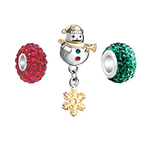 (CandyCharms Snowman Snowflake 3 Charms Red Green Crystal Birthstone Beads )