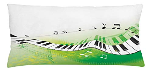 Ambesonne Music Throw Pillow Cushion Cover, Music Piano Keys Curvy Fingerboard Summertime Entertainment Flourish, Decorative Square Accent Pillow Case, 36 X 16 Inches, Lime Green Black White by Ambesonne