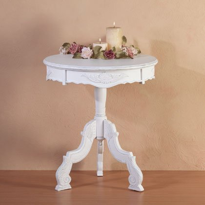 Distressed White Wood Round Table - Style - Table Distressed White Occasional