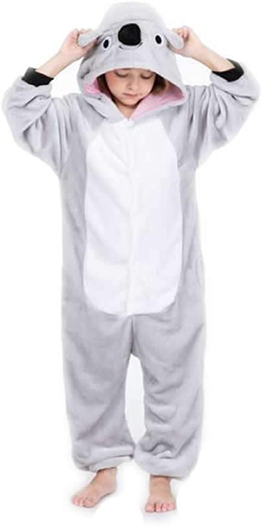 コアラキッズボーイズガールズパジャマワンシーグレーコアラオーストラリア漫画動物コスプレ睡眠スーツコスチューム、7-8年、グレー