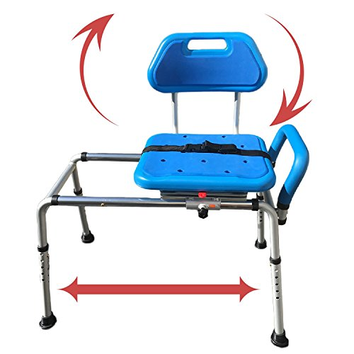 Gateway Premium Sliding Bath Transfer Bench with Swivel Seat-PADDED by Platinum Health