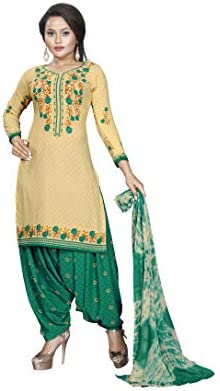 e9f8f37b73 Ishin Synthetic Beige & Green Printed Women's Unstitched Salwar Suits dress  material with Dupatta: Amazon.in: Clothing & Accessories
