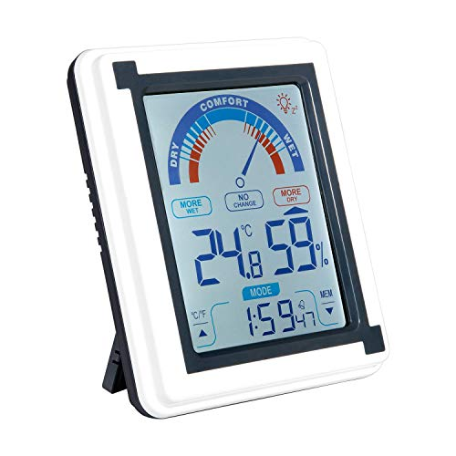 Zeonetak Digital Hygrometer Indoor Thermometer, Indoor Humidity Gauge Indicator for Baby Room Home Office Kitchen Greenhouse with Touch LED Screen Wireless Time Display